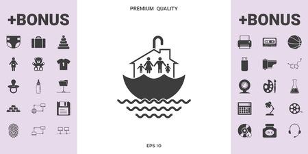 Family home security icon . Ilustración de vector