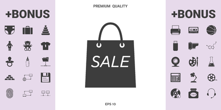 Shopping bag with the sale, discount symbol .