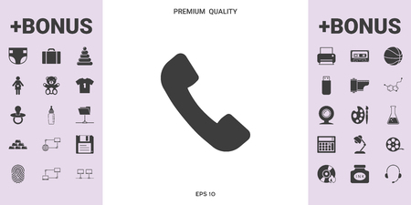 Telephone handset symbol, telephone receiver icon . . Signs and symbols - graphic elements for your design