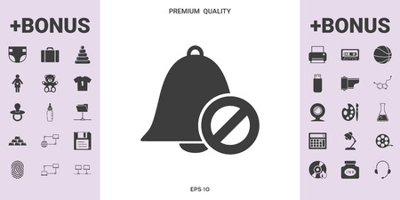 No bell icon. Prohibition sign. Stop symbol . . Signs and symbols - graphic elements for your design
