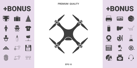 Quadcopter, drone icon . . Signs and symbols - graphic elements for your design