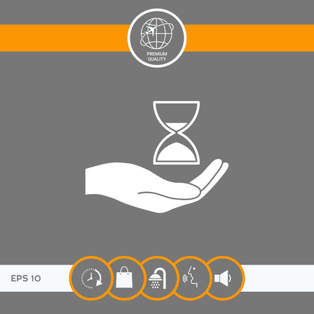 Hand holding Hourglass . Signs and symbols - graphic elements for your design
