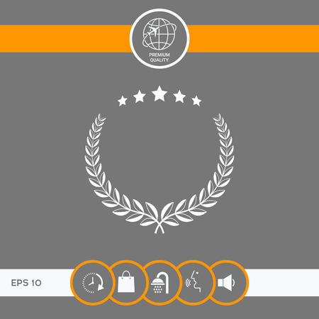 Laurel wreath with five stars - design symbol . Signs and symbols - graphic elements for your design