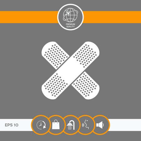 Cross adhesive bandage, medical  plaster icon
