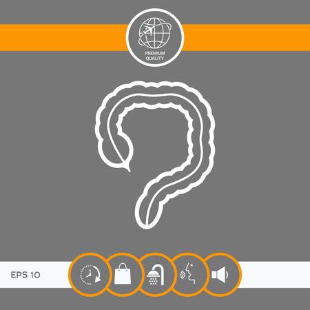 Human organ - the large intestine icon