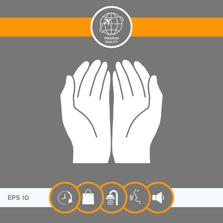 Open hands icon . Signs and symbols - graphic elements for your design