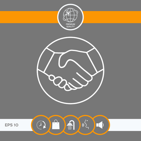 Symbol of handshake in circle. Line Icon . Signs and symbols - graphic elements for your design
