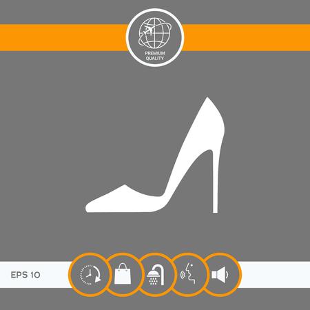 Chaussure femme élégante. Élément de menu dans la conception Web. Signes et symboles - éléments graphiques pour votre conception