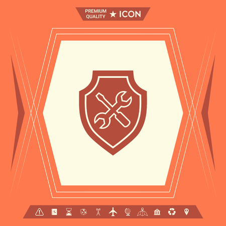 Service icon - shield with screwdriver and wrench . Signs and symbols - graphic elements for your design Illustration