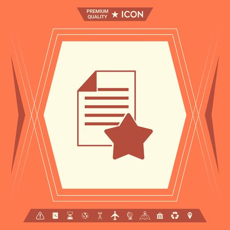 Warranty sheet of paper with a star. Icon . Signs and symbols - graphic elements for your design Çizim
