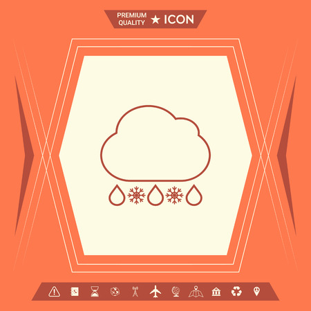 Cloud rain snow line icon. Element for your design . Signs and symbols - graphic elements for your design