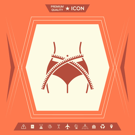 Women waist with measuring tape, weight loss, diet, waistline - icon . Signs and symbols - graphic elements for your design 矢量图像