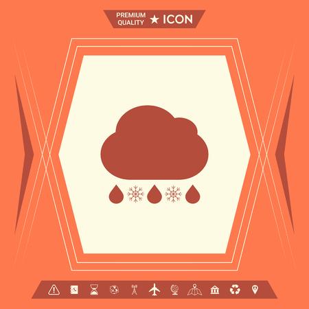 Cloud rain snow icon. Element for your design . Signs and symbols - graphic elements for your design