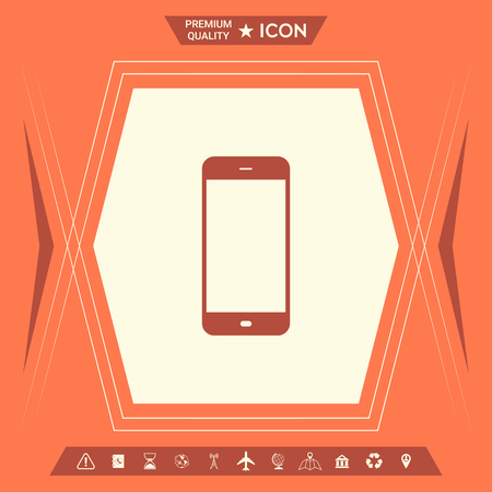 Business Phone with blank screen. Element for your design . Signs and symbols - graphic elements for your design