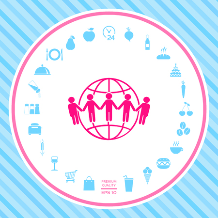 Earth icon. Communication around the world concept. Global community Stock Photo