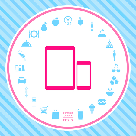 Business Phone and Tablet with blank screens. Element for your design . Signs and symbols - graphic elements for your design