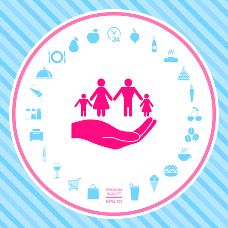 Hand holding a symbol of family. Family protect icon . Signs and symbols - graphic elements for your design Illustration