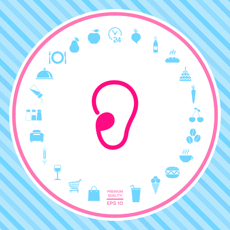 Ear symbol icon. Element for your design . Signs and symbols - graphic elements for your design