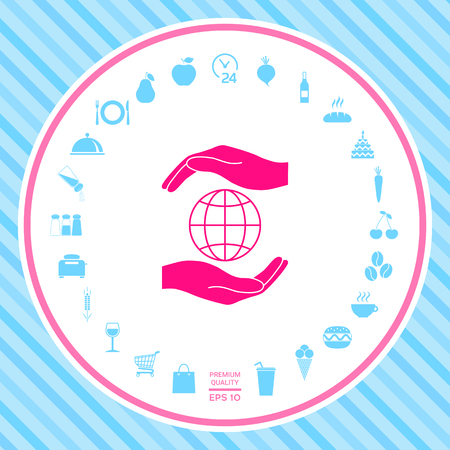 Hands holding Earth - protect icon Stock Photo