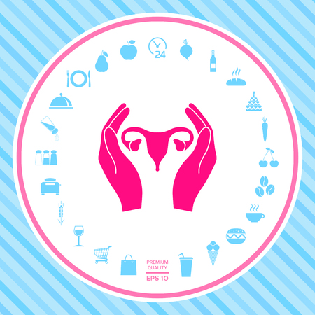 Hands holding Female uterus - protection icon Stock Photo
