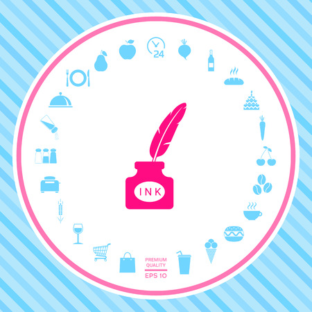 Ink bottle with feather - icon . Signs and symbols - graphic elements for your design