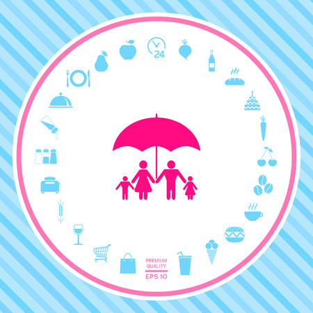 Family under umbrella - Family protect icon . Signs and symbols - graphic elements for your design Illustration
