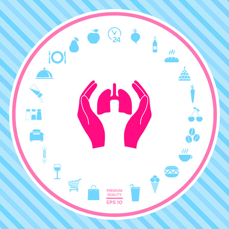 Hands holding lungs - protection icon