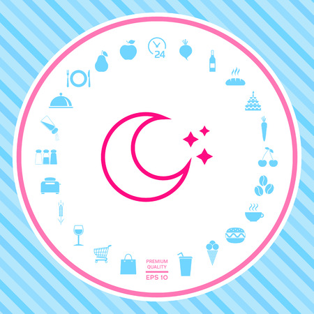 Moon stars line icon . Signs and symbols - graphic elements for your design Illustration