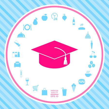Master cap for graduates, square academic cap, graduation cap icon . Signs and symbols - graphic elements for your design