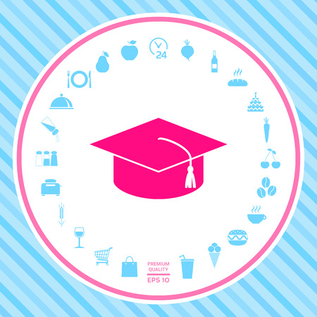 Master cap for graduates, square academic cap, graduation cap icon . Signs and symbols - graphic elements for your design Illustration