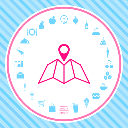 Map icon with Pin Pointer . Signs and symbols - graphic elements for your design
