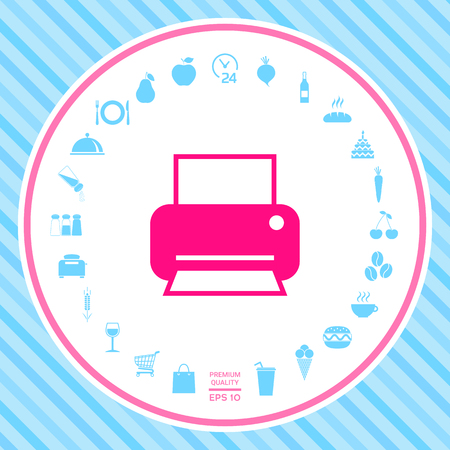 Print icon for web . Signs and symbols - graphic elements for your design