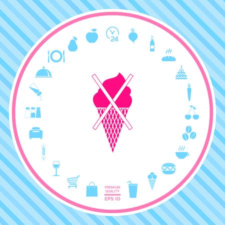 No ice cream symbol icon . Signs and symbols - graphic elements for your design Ilustração