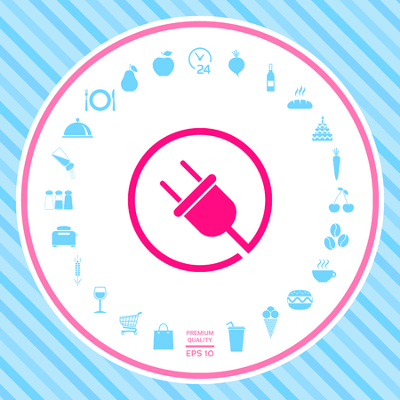 Plug in round icon . Signs and symbols - graphic elements for your design