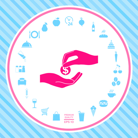 Receiving money icon . Signs and symbols - graphic elements for your design