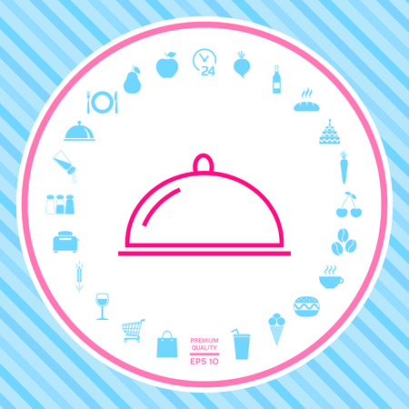 Restaurant Steel Serving Tray. Cloche line icon . Signs and symbols - graphic elements for your design