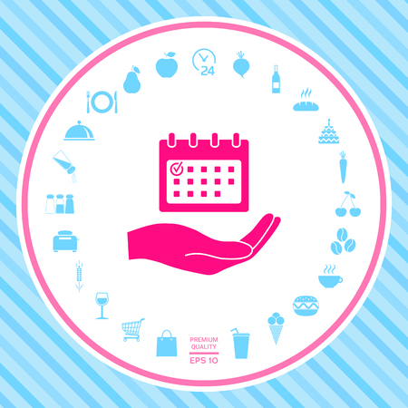 Planning, time management, hand holding calendar icon