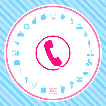 Telephone handset surrounded by a telephone cord - icon Stock Photo