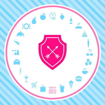 Shield with arrows. Protection icon Stock Photo