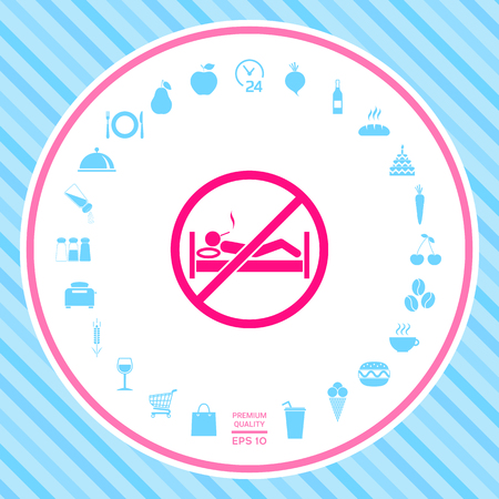 No smoking in bed - prohibition icon . Signs and symbols - graphic elements for your design Illustration