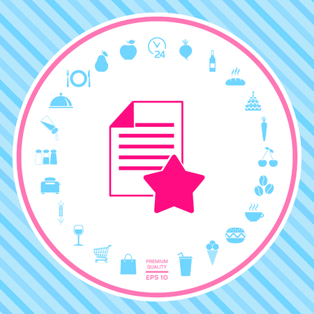 Warranty sheet of paper with a star. Icon . Signs and symbols - graphic elements for your design Illustration