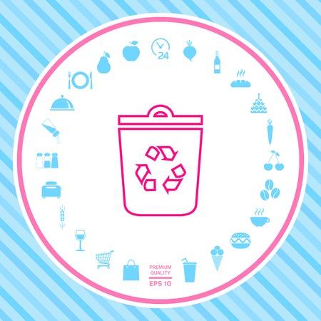 Trash can, recycle bin symbol icon