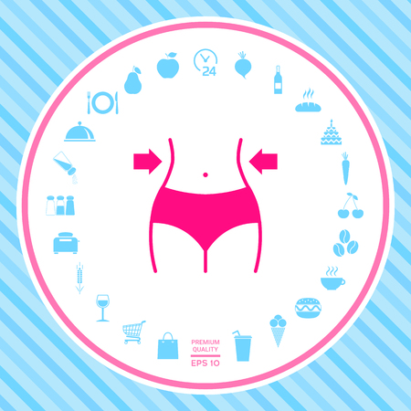 Women waist, weight loss, diet, waistline icon