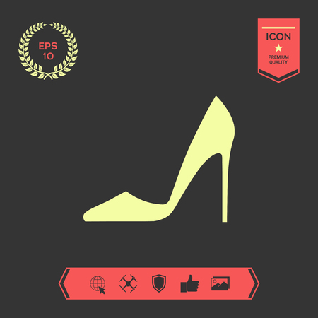 Elegant women shoe. Menu item in the web design . Signs and symbols - graphic elements for your design