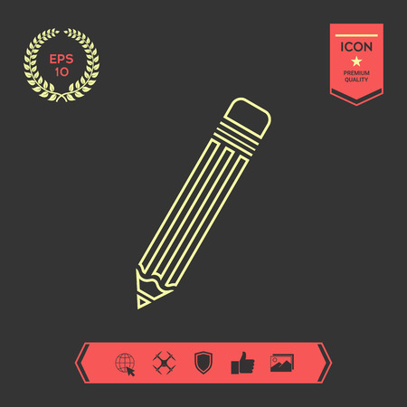 Pencil - line icon . Signs and symbols - graphic elements for your design