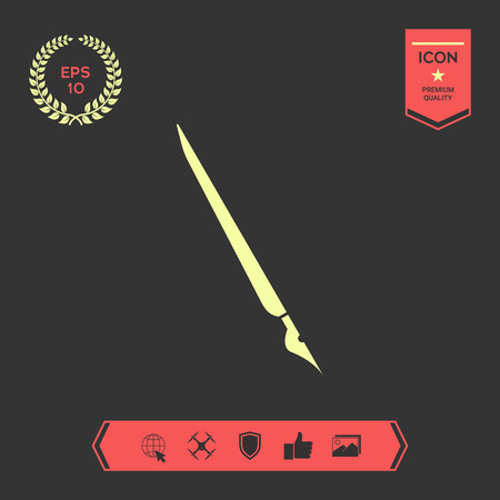 Quill pen, fountain pen icon . Signs and symbols - graphic elements for your design