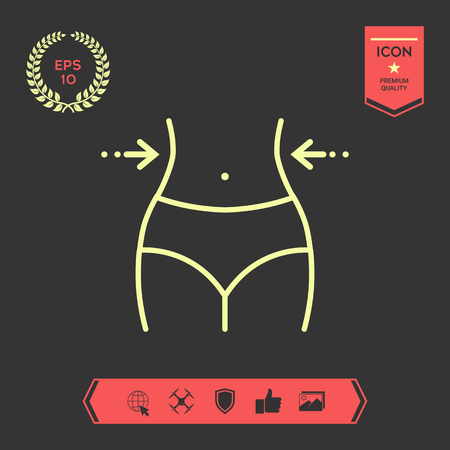Vita delle donne, perdita di peso, dieta, giro vita - icona della linea. Segni e simboli - elementi grafici per il tuo design