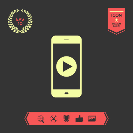Business Phone with play button icon . Graphic elements for your design Vektorové ilustrace