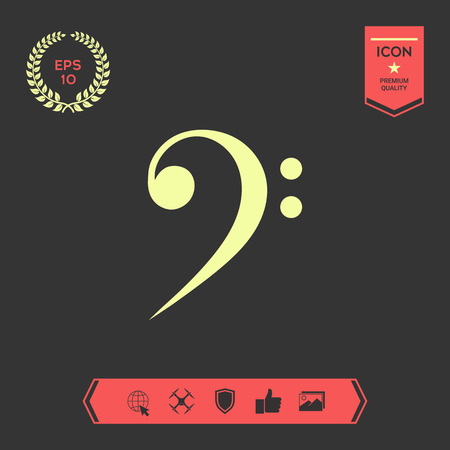 Bass clef icon . Graphic elements for your design Vettoriali