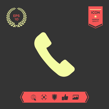 Telephone handset symbol, telephone receiver icon . Signs and symbols - graphic elements for your design Ilustração